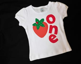 Fresh summer coral, pink, green strawberry designer fabric applique, personalized birthday number onesie or shirt NB - 16