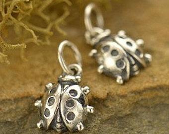 Sterling Silver Ladybug Charm  - cj614, Bug Charms, Bugs, Animal Charms, Bracelet Charms, Love Bug, Lovebug, Good Luck Charm, Spring, Lucky