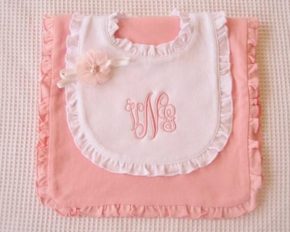 Baby Shower Gift Bib and Burp Cloth Personalized or Monogrammed White Ruffled Bib New Baby Gift Baptism Christening Gift