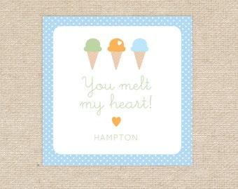 Printable Ice Cream Valentine Tags
