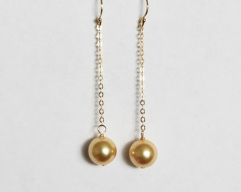 Large pearl drop earrings- Bridesmaid pearl earrings- 14K Gold earrings- Large earrings- bridesmaid earrings -Bridesmaid gift