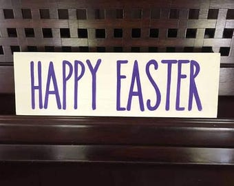 HAPPY EASTER Mantle Tablescape Decor WOODEN Sign Plaque Compliments your Rae Dunn Coffee Cup Collection You Pick Color