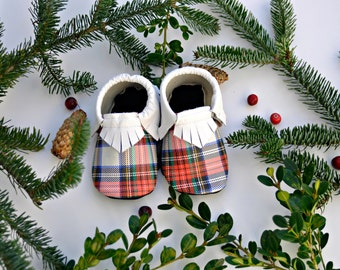 Limited Edition Christmas Plaid Leather Moccasins 6-12 month 12-24 month White