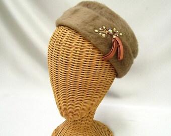 Vintage Ladies Hat Taupe Faux Fur Toque Layered Rhinestones Ribbon