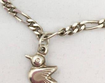 "Vintage Sterling Silver CHARM  Bracelet with 3 Little Birds marked ""925"""