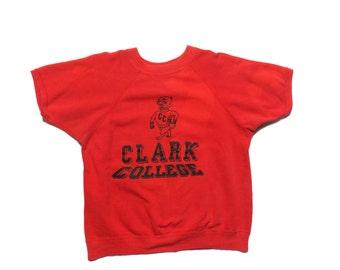 MED/LRG | 1960's Clark College Short Sleeve Sweatshirt in Red