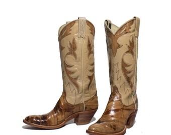 40% off SALE 6 A | Women's Dan Post Cowboy Boots Tan Eel Skin w/ Inlay Fancy Western Boots