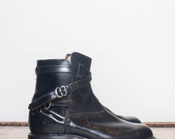 30% OFF 7 D | Vintage Men's Ankle Boots Wrap Around Strap and Buckle Moto Boots