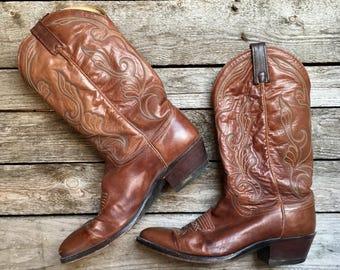 9.5 D | Men's Dan Post Brown Cowboy Boots w/ Stitching Western Boots