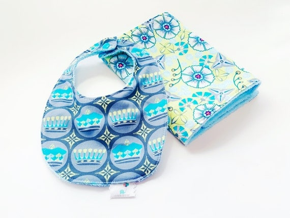 Bib and Burp Cloth Set - Royalty Gender Neutral