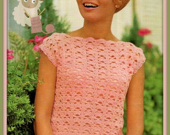PDF Crochet Pattern - Ladies Retro Blouse with Pretty Shell Lace Design - Instant Download