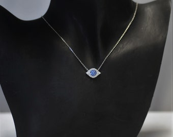Evil Eye, CZ Evil Eye Necklace, Blue and clear crystal evil eye, Gift for her, Good luck charm, Short necklace, Silver blue evil eye