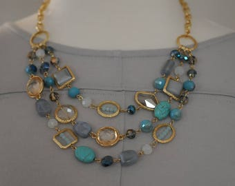 Bib Necklace, Layered Blue and Turquoise, Hammered gold and blue necklace, Gift for her, Summer necklace, multistrand short necklace