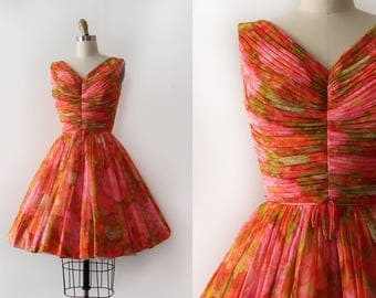 vintage 1950s prom dress // 50s 60s vibrant party dress