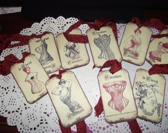 Lovely French Gift Tags  Adorned With  A Rust Color Seam Binding Ribbon