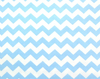 Flannel Fabric by the Yard in a Baby Blue on White Chevron Print 1 Yard
