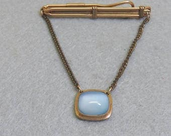 1950s Blue Cats Eye Glass Tie Clip or Tie Keeper