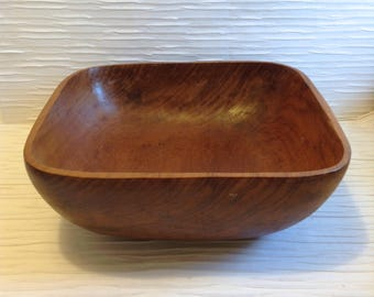 Large Teak Wood Salad Bowl. Modernist Salad Bowl. Vintage 1970's Modern, Mod, POP, Panton era. Mid century.  Danish Modern.