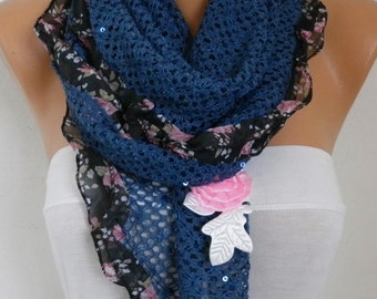 Blue Knitted Scarf, Wedding Scarf,Bohemian,Evening Wrap,Cowl,Bridesmaid Gift,Lace,Gift Ideas For Her,Women Fashion Accessories - fatwoman