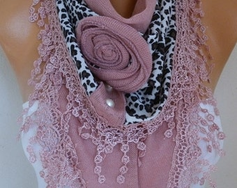 ON SALE --- Dusty Pink Knitted Floral Leopard Scarf, Shawl,Fall Winter, Bridesmaid Bridal Accessories Gift Ideas For Her Women Fashion Acces
