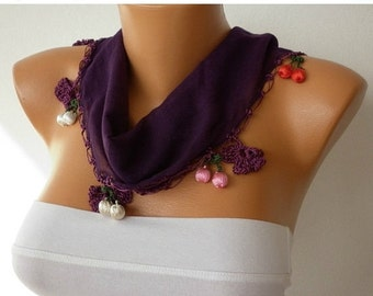 ON SALE --- Dark Purple Floral Cotton Scarf , Damson,Fall Scarf, Necklace, Gift Ideas  For Her,  Women Fashion Accessories