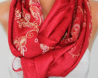 Red Embroidered Scarf,Wedding Shawl, Oversized, Bridesmaid Gift, Bridal Accessories, Gift Ideas For Her, Women Fashion Accesssories