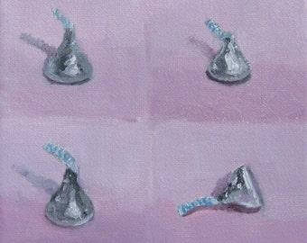 Valentines Gift for Her Chocolate Hersheys Kisses Original Oil Painting Kitchen Still Life Modern Impressionist 6x6 Canvas Jennifer Boswell