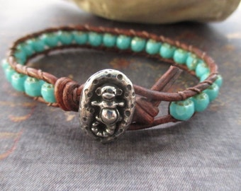 Turquoise blue leather bracelet - Sea Monkey - cute stacking bracelet distressed brown leather spring summer beach boho by slashKnots