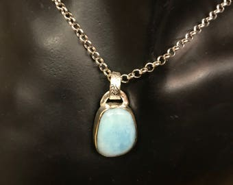 larimar and sterling necklace