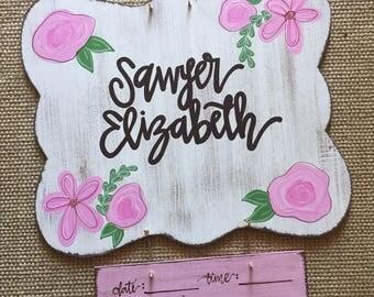 pink floral design // hospital door hanger for girls