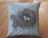 Robin's Nest Canvas Pillow, Farmhouse pillows, INSERT INCLUDED
