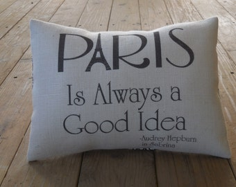 Paris Burlap Pillow, Shabby Chic, French Country, INSERT INCLUDED
