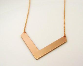 Large chevron pendant necklace, large arrow necklace, long chevron necklace, long layering necklace, gold chevron, rose gold chevron