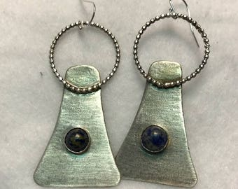 Handcrafted Sterling Silver Earring with Natural Lapis Lazuli Cabochon
