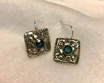 Fine Silver 999 Artisan Crafted Earrings with Natural London Blue Topaz