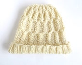 "RESERVED for L.: Cap/bonnet ""Rapunzel"", pure natural wool, German sheep, knitted, ivory, off-white, cable pattern, OOAK, one of a kind"