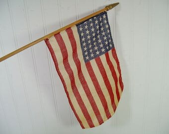 Antique Parade Style 48 Star American Flag on Original Wooden Pole with Gold Painted Finial, Naturally Aged Fabric World War II Era USA Flag