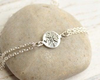Sterling Silver Petite Compass Bracelet - friendship bracelet