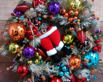 Christmas Wreath-Holiday Wreath-Holiday Decor-Santa Claus Wreath-Holiday Door Wreath-Fun Christmas Wreath-Unique Christmas Wreath
