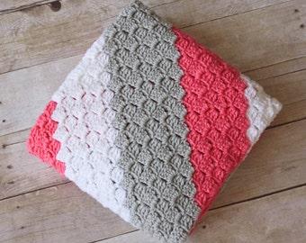 Crochet Baby Blanket, Striped Baby Blanket, Large Baby Blanket, Custom Baby Blanket, Baby Shower Gift, Soft Baby Blanket, Crib Blanket