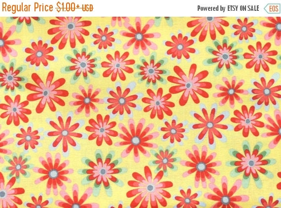 Multi Color Retro Flower Fabric for MdG for MDG 100% Cotton Quilt Apparel Sewing Craft Tossed Multi Color Floral on Yellow