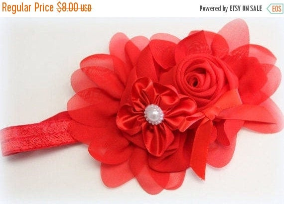 Red Flower Headband,Red Elastic Headband,Red Headband,Red Flower Girl Headband,Red Newborn Headband,Red Baby Headband,Red Toddler Headband