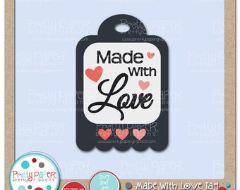 Made with Love Tag Cutting Files & Clip Art - Instant Download