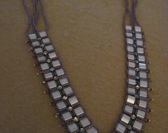 Swarvoski and Tile V Collar Style Necklace......one of a kind.1366h