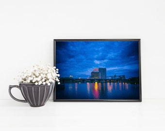 Montreal Blue Wall Art - Canadian Cityscape Farine Five Roses - Urban Art Night Photography - Small and Large Wall Art Prints Available