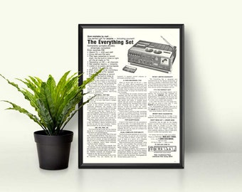 CB Radio By Sampo • Tape Recorder Radio Device • Retro Portable TV • 1979 Old Electronics •  Radio Nerd Gift • Vintage Gift Idea • Old Ad