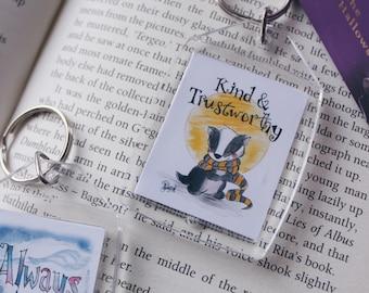 Keychain Hufflepuf Housepride - Fandom art merchandise - Harry Potter Painting - Fandom art - Book lovers - Gifts for Booknerds