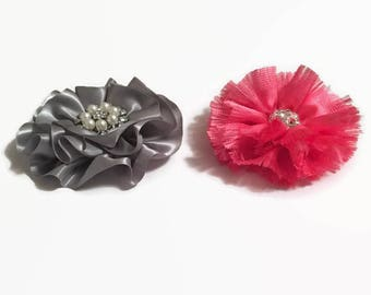 Two Fabric Flowers, One Tangerine Shabby Chiffon & One Gray Satin Flower, Supply Flower, Supplies, Headband Flower, Brooch Flower Supply
