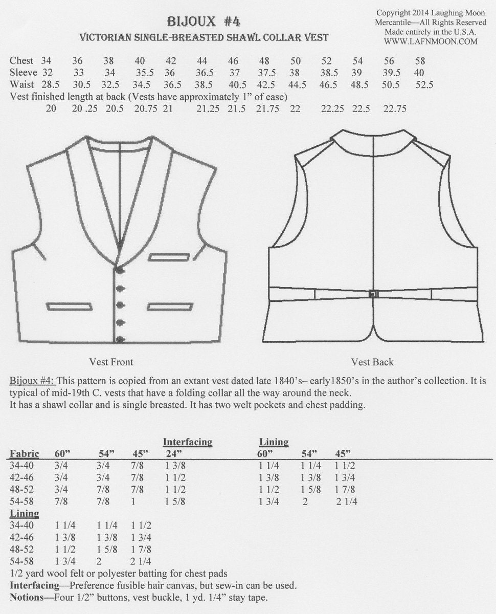 Lmb04 1850 1865 mens victorian shawl collar vest sewing pattern 950 jeuxipadfo Images