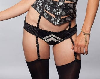 ON SALE Silk Panties Lingerie Knickers Underwear / Black White Deco Burlesque Chevron - DECO Knickers Ready-to-Ship